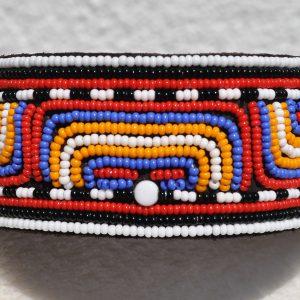 Perlenhalsband-Geflochten-Kenya-Massai-Hundehalsband-blau-orange-weiss-rot-schwarz