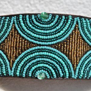 Perlenhalsband-Geflochten-Kenya-Massai-Hundehalsband-tuerkis-gold
