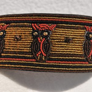 Perlenhalsband-Hundehalsband-Masai-Afrika-Kenya-Simo Milano-schwarz-gold-braun-Duduli