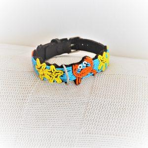 Perlenhalsband-Halsband-Hund-Afrika-Kenya-Masai-Handmade-gelb-blau-orange-Mare