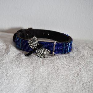 Perlenhalsband-Hundehalsband-Masai-Afrika-Kenya-Simo Milano-schwarz-blau-silber-Dragonfly blue