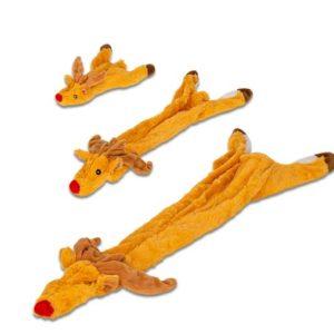 Petbrands-Jackandvanilla-Spielsachen-Hundespielsachen-unstuffed-Rentier-Spiel-Spass-Hund-braun-Rudi red Nose