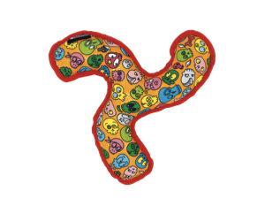 Petlando-Kotbeutelspender-Happines-Skulls-rot-gelb-blau-Spielzeug-Hundespielzeug-Boomerang