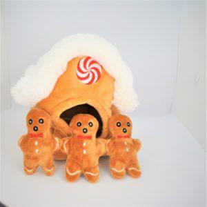 Pfoetil-Shop-Geschenk-Hundespielzeug-Dog Toy-XMas-gingerbread house-iglu-braun-festlich
