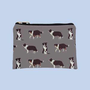 Pfoetli-Shop-Geschenk-Hundeliebhaber-Hundenarr-Hundefreund-Border Collie-Tasche-Bag-Taeschchen-Coin Purse-Geldbeute-Reissverschluss-grau