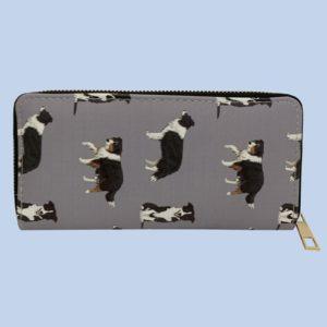 Pfoetli-Shop-Geschenk-Hundeliebhaber-Hundenarr-Hundefreund-Border Collie-Tasche-Bag-Taeschchen-Coin Purse-Geldbeutel-Geldboerse-Portemonaie-Reissverschluss-grau