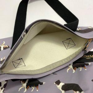Pfoetli-Shop-Geschenk-Hundeliebhaber-Hundenarr-Hundefreund-Border Collie-Tasche-Einkaufstasche-Reissverschluss-grau 1