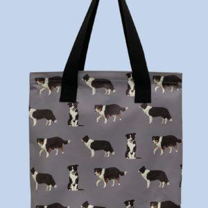 Pfoetli-Shop-Geschenk-Hundeliebhaber-Hundenarr-Hundefreund-Border Collie-Tasche-Einkaufstasche-Reissverschluss-grau
