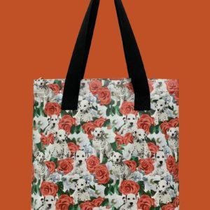 Pfoetli-Shop-Geschenk-Hundeliebhaber-Hundenarr-Hundefreund-Dalmatiner-Tasche-Einkaufstasche-Reissverschluss-rot