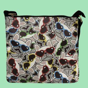 Pfoetli-Shop-Geschenk-Hundeliebhaber-Hundenarr-Hundefreund-Franzoesische-Bulldogge-Frenchie-grau-blau-gelb-blau-Beutel-Tasche-Taeschchen-Crossbody