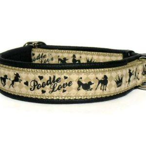 Pfoetli Shop-Halsband-Hundehalsband-Leder-Clickverschluss-Borte-Poodle Love-schwarz-beige
