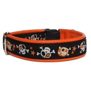 Pfoetli Shop-Halsband-Hundehalsband-Leder-Clickverschluss-Borte-Skulls-Totenkoepfe-orange-schwarz-silber