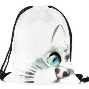 Rucksack-Fashionbeutel-Shopper-Katze-Katzenliebhaber-Augen-weiss-grün