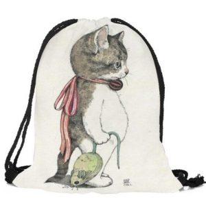 Rucksack-Fashionbeutel-Shopper-Katze-Katzenliebhaber-Katze mit Maus-weiss-rot-grau