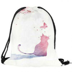 Rucksack-Fashionbeutel-Shopper-Katze-Katzenliebhaber-Katze-mit-Schmetterling-weiss-rosa-blau