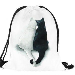 Rucksack-Fashionbeutel-Shopper-Katze-Katzenliebhaber-verliebte Katzen-weiss-schwarz