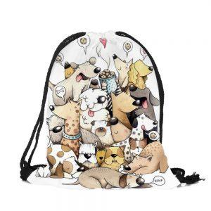 Shopper-Tasche-Einkauf-Oekologisch-umweltbewusst-Hund-Hundeliebhaber-Fashionbeutel-viele Hunde