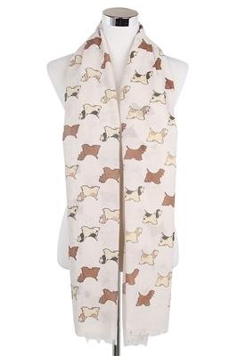 Schal-Hundemotiv-Spaniel-beige-Hund-warm-weich