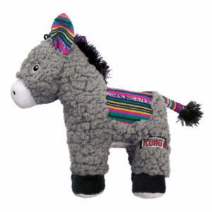 Spielzeug-Hundespielzeug-Esel-Donkey-grau-bunt-KONG-Pluesch-knisternd-Quieschter