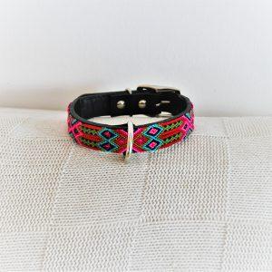 Tulipan-Heka Pet-Halsband-Boho-Ibiza-Hippie-farbig-Stylish-Hund-pink-gelb