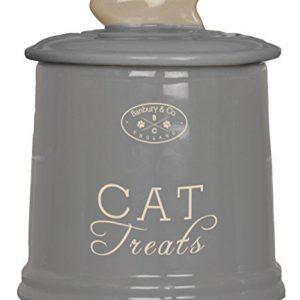Vorratsdose-Gutzidose-Leckerlidose-Futterdose-Dose-Katze-Cat-Keramik-Aufbewahrung-grau