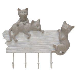 Wandhalterung-Haken-Katze-Polyresin-weiss-Garderobe-Geschenk-Vintage-Shabby