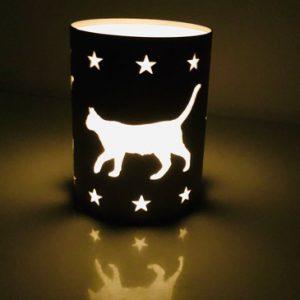 Windlicht-Katze-Kätzchen-Edelstahl-Katzenliebhaber-Geschenk