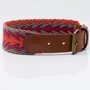 collar-peruvian-Arrow orange-gelfochten-Hundehalsband-Halsband-Bio-Rindsleder-Stylish