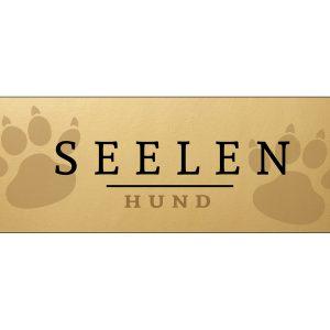 Blechschild-Tuerschild-Schild-Vintage-Retro-Shabby-Gold-Seelenhund-Pfote-Hund