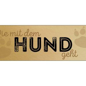 Tuerschild-Schild-Blechschild-Vintage-Shabby-Retro-Gold-die-mit-dem-Hund-geht
