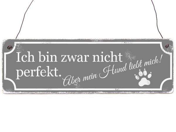 holschild-Schild-vintage-Shabby-perfekt-pfote-hund-Deko-grau