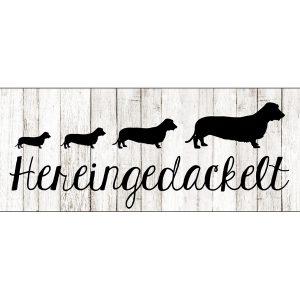 Tuerschild-Schild-Blechschild-Vintage-Shabby-Retro-Dackel-Hund-schwarz-beige