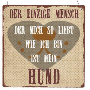 Schild-Holzschild-Tuerschild-Vintage-Shabby-Retro-Mensch-Hund-Herz-Liebe-braun-beige